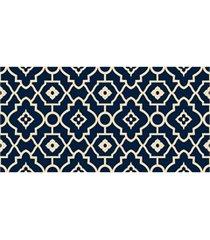 passadeira em pvc tropical arabesco 43x130cm azul e bege