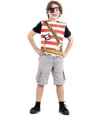fantasia infantil branco - peitoral pirata - tamanho único (3 a 6 anos) - 72107 - sulamericana.