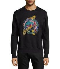 eleven paris men's multicolor embroidered cotton sweatshirt - black - size m