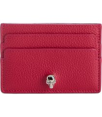 women's alexander mcqueen skull calfskin leather card case - red