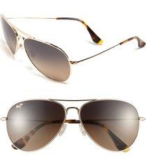 maui jim mavericks 61mm polarizedplus2 aviator sunglasses - gold/ bronze