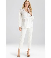 natori cotton poplin tie front tunic top, women's, white, size l natori