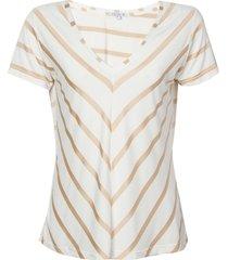 blusa dudalina manga curta decote v listrada feminina (off white listrado, gg)