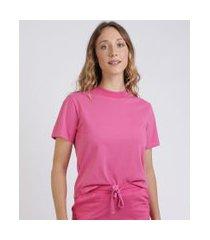 t-shirt feminina mindset básica manga curta decote redondo rosa escuro