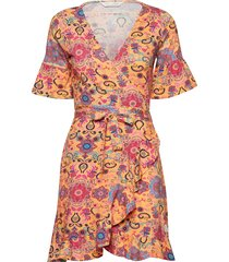 flower wrap dress korte jurk oranje odd molly