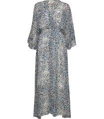 clouds maxi dress maxi dress galajurk blauw second female