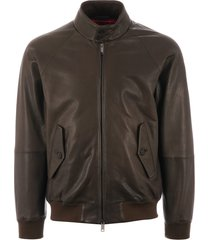 baracuta g9 leather harrington jacket - taupe brcps0574ut1133642