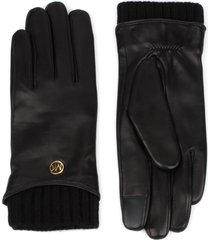 women's michael kors metallic logo knit cuff leather gloves
