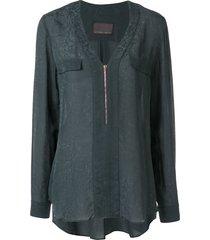 ginger & smart panacea zip-up blouse - blue