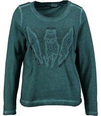 garcia groene sweater met kraaltjes