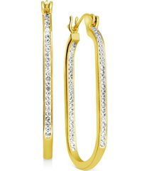 essentials crystal in & out oblong hoop earrings in fine silver-plate