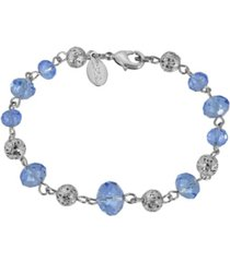 2028 women's silver tone with blue and silver beaded chain bracelet
