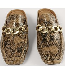 na-kd shoes loafers med kedjedetalj - brown