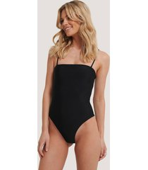 na-kd swimwear baddräkt med tunna band - black