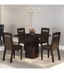 mesa de jantar 4 lugares cetim ameixa/chocolate - mobilarte