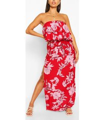 strapless bloemenprint maxi jurk met split, red