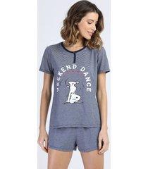 pijama feminino snoopy listrado manga curta azul escuro