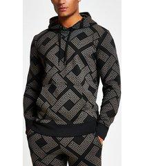 mens criminal damage black printed slim fit hoodie