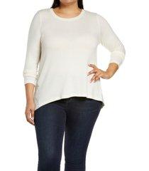 plus size women's bobeau marled front patterned back top, size 1x - beige