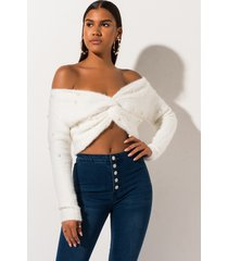 akira pretty in pearls twisted hem cropped sweater