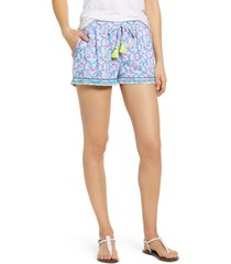 women's vineyard vines floral flamingos embroidered linen shorts