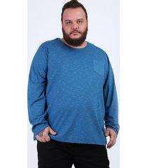 camiseta masculina plus size básica com bolso manga longa gola careca azul