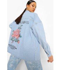 onbewerkte oversized spijkerblouse met rugopdruk, mid blue