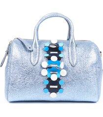 anya hindmarch vere radius metallic leather satchel bag