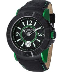 stuhrling stainless steel black pvd case on black mottled buffalo grain genuine leather strap with green contrast stitching, black dial, black bezel, green lugs, with silver tone, white, and green accents