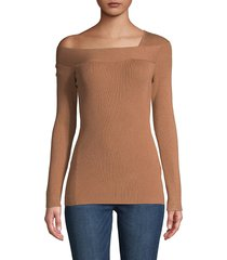 donna karan new york women's asymmetrical neckline sweater - lacquer red - size m