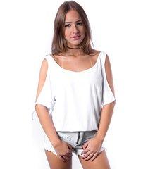 blusa ombro vazado up side wear branca