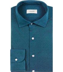 camicia da uomo su misura, maglificio maggia, petrolio piquet cotone, quattro stagioni   lanieri