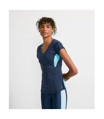 camiseta manga curta em poliamida com recortes em tela | get over | azul | g