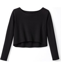 korte pullover van biologische merinowol, zwart 34