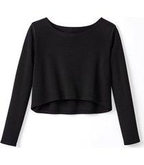korte pullover van biologische merinowol, zwart 44/46