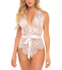 women's eyelash lace halter teddy with functional ties