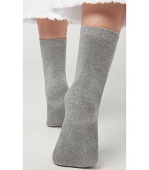 calzedonia short cotton thermal socks woman grey size tu