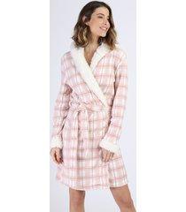 roupão de plush feminino estampado xadrez com capuz e pelo rosa