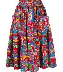 a.n.g.e.l.o. vintage cult 1950s beach print flared skirt