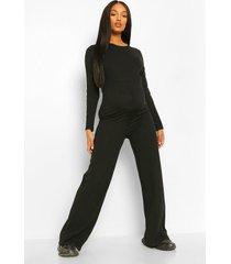 zwangerschaps wide leg jumpsuit met gestreepte mouwen, zwart
