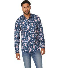 camisa g factory ls bronx plain floral azul guess