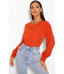 sheered neck & sleeve blouse, rust