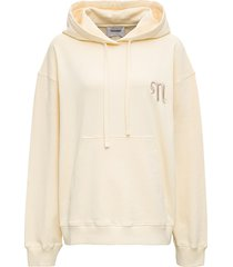 nanushka cream-colored jersey hoodie with logo