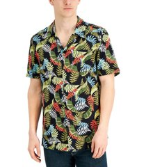 collectif men's oscar relaxed-fit tropical palm-print camp shirt
