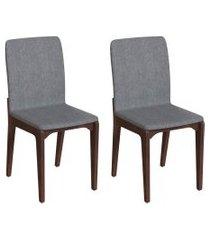 conjunto com 2 cadeiras darwin cinza e café