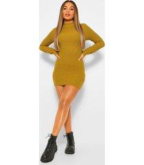 petite geribbelde gebreide trui jurk, olive