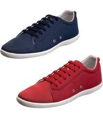 kit 2 sapatênis sapato casual mavi azul marinho e vermelho
