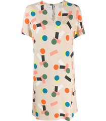 akris punto patterned shift dress - neutrals