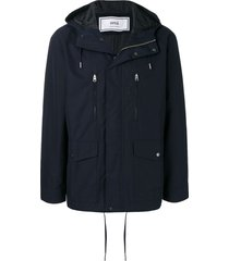ami paris multi-pocket parka - blue