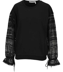 see by chloé see by chloè embroidered sleeve sweatshirt